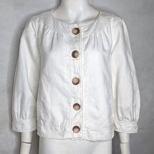 White Linen Blend Short Jacket w/Pockets Lined